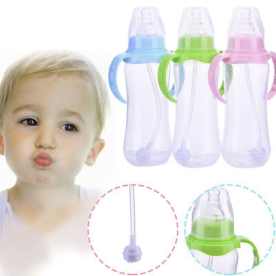 240ml Wide Neck Baby Drinking Straw Bottle Cups for Infant Toddler Baby Feeding