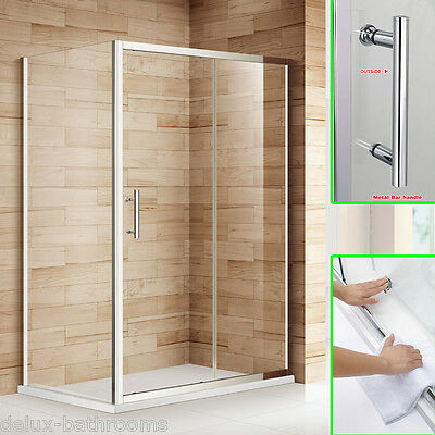 1200x700mm Shower Enclosure and Tray Sliding Door +Side Panel Cubicle Free Waste