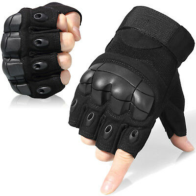 Military Tactical Fingerless Outdoor Motorcycle Hard Knuckle Half Finger Gloves