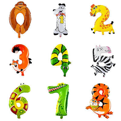0-9 Inflatable Animal Number Foil Balloon For Wedding Party Birthday Baby Toys