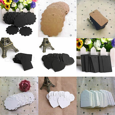 100x  Blank Kraft Paper Hang Tags Wedding Party Favor Label Price Gift Cards New