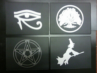 tax discs,stickers,coasters, mouse mats +more with a witch or pentagram symbol