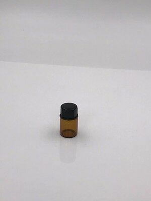 50 X 2ml or 5/8 dram Amber Glass Vial Bottles + 192 Essential Oil Cap Stickers