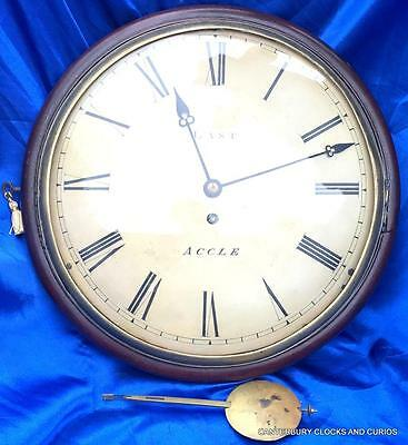 "ANTIQUE MAHOGANY 8 DAY CONVEX FUSEE 12"" DIAL CLOCK LAST ACCLE 1850c"