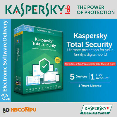 Kaspersky Total Security 5 Devices | 2020 /365 Days | Download | Code Key Only