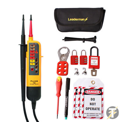 Fluke T90 Voltage and Continuity Tester + Leaderman MCB Lock Out/Off Kit LOS-K1