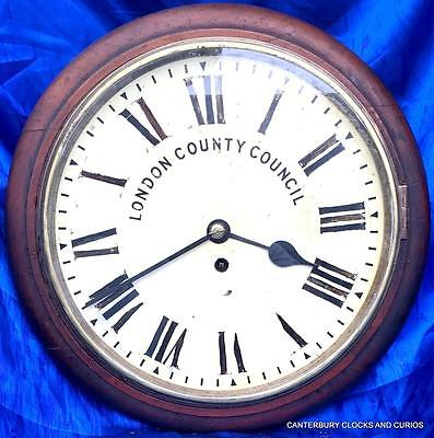 "ANTIQUE MAHOGANY 8 DAY CHAIN FUSEE 12"" DIAL CLOCK LONDON COUNTY COUNCIL 1880c"