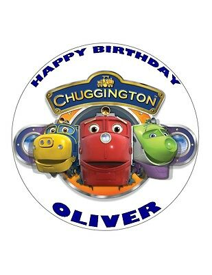 "7.5"" Chuggington Personalised Round Edible Wafer/fondant Paper Cupcake Topper"