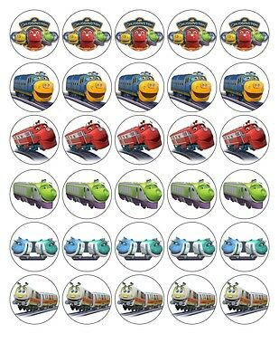 30x cm - CHUGGINGTON- ROUND EDIBLE WAFER/FONDANT PAPER CUP CAKE TOPPERS