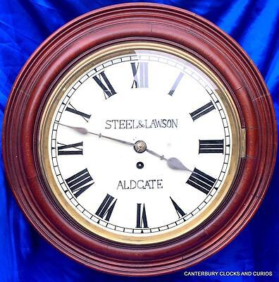 "ANTIQUE MAHOGANY 8 DAY FUSEE 12"" DIAL CLOCK STEEL & LAWSON ALDGATE 1880c"