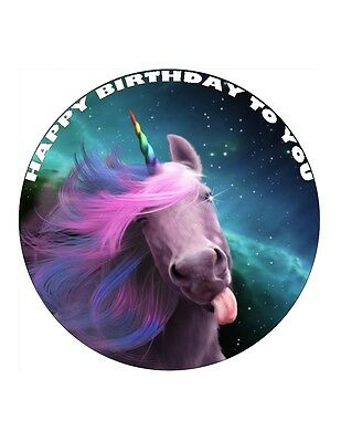 "7.5"" Unicorn Funny Personalised - Edible Wafer/Fondant Paper Cup Cake Toppers"