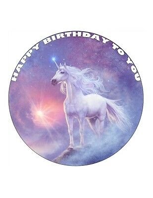 """7.5"""" Pretty Unicorn Personalised - Edible Wafer/fondant Paper Cup Cake Toppers"""