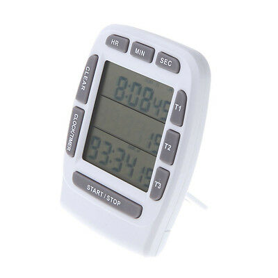 LCD Digital Alarm Timer with Triple Display 3-Line Timer Countdown Stopwatch BT