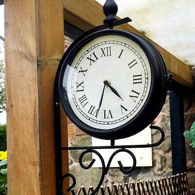 Outdoor Victorian Station Style Garden Hanging Clock Double Sided 51cm