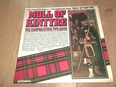 """The Campbeltown Pipe Band """" Mull Of Kintyre """" Vinyl Lp Ex/ex 1978 Pickwick"""