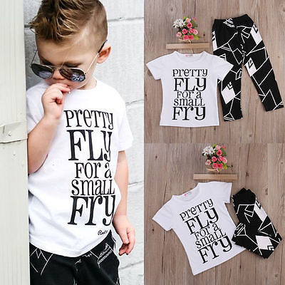 2-7T Toddler Kids Baby Boys Summer Clothes Set Short Sleeve Tops+Pants Outfits