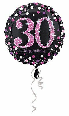 "Pink Sparkling Celebration 30th Happy Birthday 18"" Party Foil Helium Balloon"
