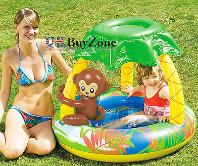 Baby Toddler Inflatable Swimming Paddling Sunshade Monkey Pool Soft Floor Canopy
