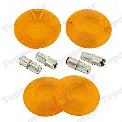Amber Flat Style Turn Signal Light Lenses Lens LED Bulb For Harley Touring FLHR