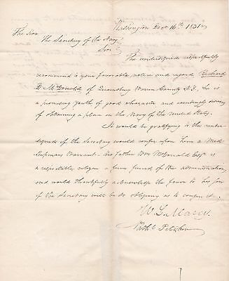 LETTER of support SIGNED by 3 Jacksonians- WL MARCY, NAT PITCHER, & ERASTUS ROOT