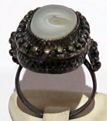 Excellent Early 20Th Century Silver Ring With Filigree And Agate # 23B