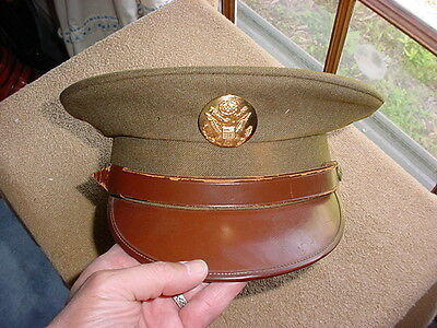 WWII US Army Enlisted OD Visor Hat Cap with Brown Leather Brim & Chin Strap