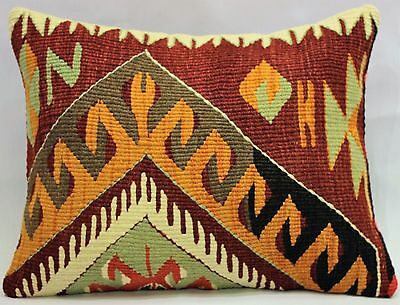 "Turkish Kilim Rug Pillow Lumbar Cushion Cover Kelim Sofa Throw Bolster 16""x22''"