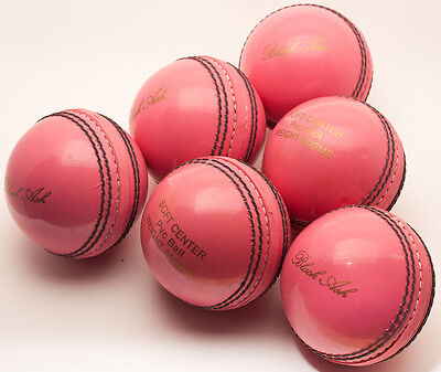 Black Ash Lot Of 6 Pvc Soft Cricket Training Balls Pink Weight 80 Grams