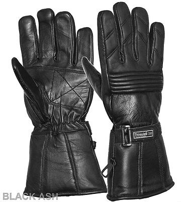 Black Ash B35 Motorcycle Leather Winter Riding Gloves