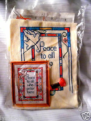 Vintage PEACE TO ALL WHO ENTER HERE Needlepoint Kit