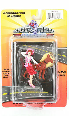 1:24 Scale Diorama Women With Dog Figure Emily  New Sealed