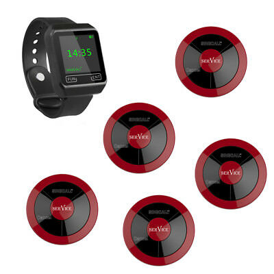 SINGCALL Wireless Restaurant Calling Waiter System 1 Watch, 5 Pagers for Hotel