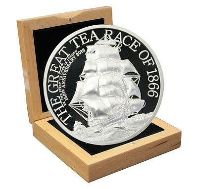 Cook Islands $5 Dollars,1 oz. Silver Proof Coin,2016,Anniv of the Great Tea Race