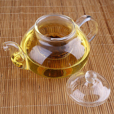 Heat Resistant Clear Glass Teapot With Infuser Tea Leaf Herbal Pot 400ML