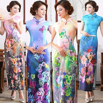 Women Chinese Vintage Floral Cheongsam Qipao Summer Party Dress US