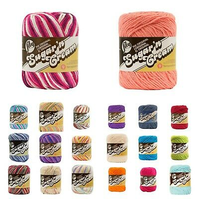 LILY Sugar & Cream Chunky 100%  Cotton Yarn - 39 COLOURS - choose - 56gram ball