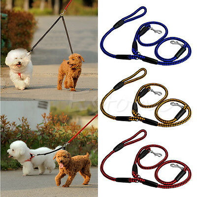 No Tangle Nylon Double Multiple Dual Coupler 2 Way Dog Pet Walking Leash Lead