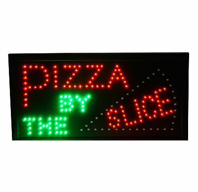 Pizza BY THE Slice Sign Animated LED Pizza Window Sign Pizza Place Retail Sign