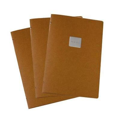 20x Deluxe Tuscan Leather Menu, Natural, A4 w 4 Pockets, 'Menu' Badge Restaurant