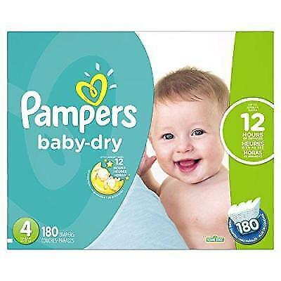 Pampers Baby Dry Diapers Size 4, 180 Count New