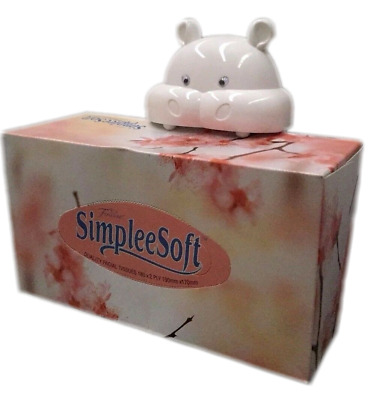 Hungry Hippo Tissue Box Holder With Suction Cups White New