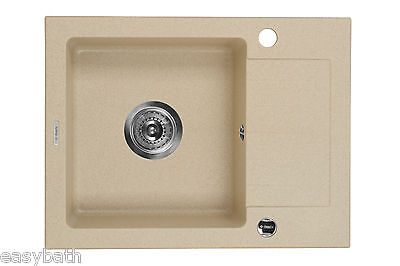 Granite 1 Single Bowl Complete Kitchen Sink With Fittings Strainer Waste