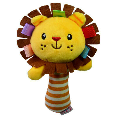 Lovely Plush Lion Handbell Rattle Young Boys Girls Hand Shaking Musical Toy