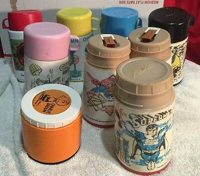 Vintage 9 Mixed Lot Various 1970's Plastic Lunchbox Thermoses Aladdin