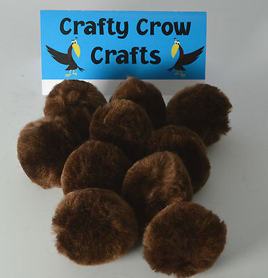 10 x LARGE BROWN 50mm POM POMS