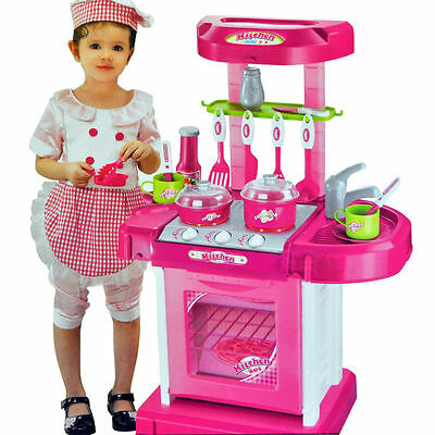 Portable Electronic Light & Sound Girls Kitchen Cooking Children's Play Set Toy