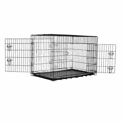 Extra Large Pet Crate Metal Cage Dog Training Puppy Cat Travel Carrier With Tray