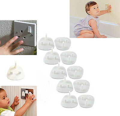 10 x UK 3 PIN Mains Socket PLUG SAFETY COVERS-Baby Child Protection, Home Safety