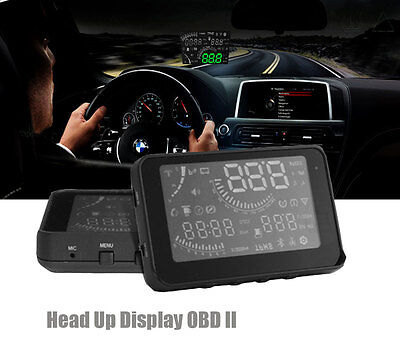 """4"""" LED Car HUD Head Up Display With OBD2 Interface Speeding Warning System New"""