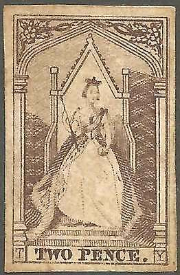 VICTORIA 1852-54 Queen on Throne 2d Brown 4M imperforate ACSC 4 cv$500 fine LHM